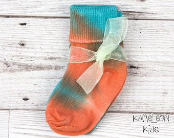 Tie Dye Baby Socks - Orange and Blue Cotton Baby Socks, Orange Baby Socks Blue Baby Socks - Kameleon Kids Ethical Clothing Baby Boutique