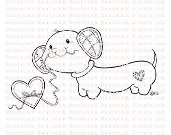 Patches the Dachshund Dog Digital Stamp for Card Making