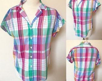 Vintage 90s Plaid Blouse - UK Size 12/US Size 8