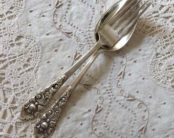 Antique Yogya Djokja silver, salad cutlery, silver cutlery, spoon and fork, antique silver