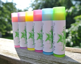 Organic Vegan Lip Balm - 10 pack (choose from TEN flavors) and 1 dollar donation - Vesper Beauty