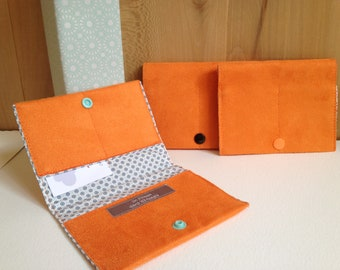 Orange suede cardholder