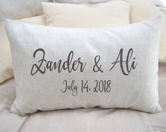 Personalized Pillow, 2nd Cotton anniversary, kneeling, fiance, engaged gift, fiance for him,her gift