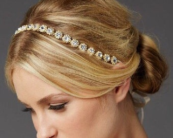 Gold Headband, Crystal Headband, Bridal Headpiece, Bridal Headband, Wedding Headpiece, Wedding Headband, Hair Accessories, Bridal Tiara