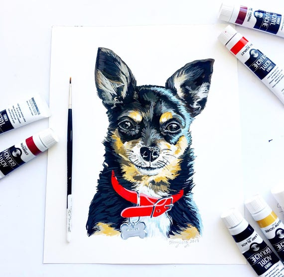 Custom Modern Pet Portrait, Dog Painting, Cat Painting Gouache Realistic Painted Pet Portrait, Custom Gift Idea, Unique Gift, Christmas Gift