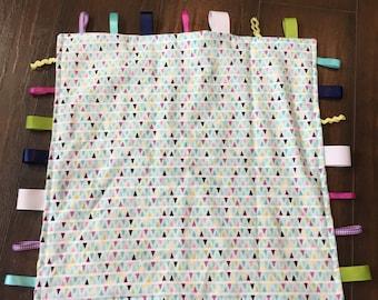 Bright Geometrics Baby Girl Taggie/Lovey Blanket