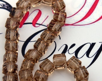 """Crystal Beads, Champagne Cube Beads, 8.5mm Beads, 14"""" strand of Beads, Semiprecious Beads, Beads for jewelry making"""