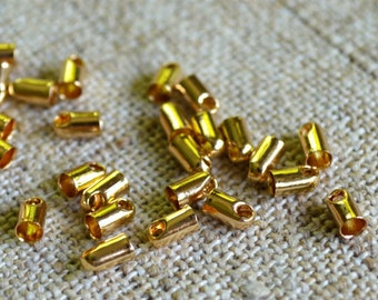 100pcs Crimp Cord Ends Tip Gold Plated Brass 4x2mm For 1mm Cord