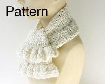 PDF Crochet  Pattern,  Ruffle Scarf  Pattern, Neck Warmer Pattern, Ascot Pattern, Digital Download