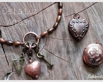 True Love Celebration Charm Bracelet - Antique Copper, Adjustable, Customize it!