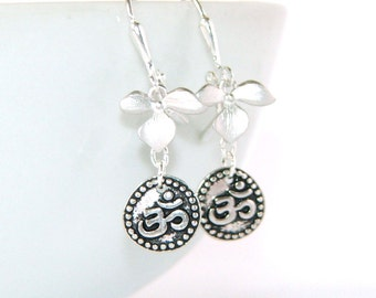 Silver Om Earrings with Orchid Flowers