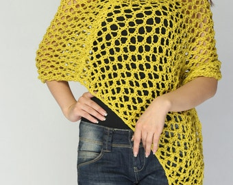 Hand knit Little cotton poncho knit scarf knit shrug lemonYellow - ready to ship