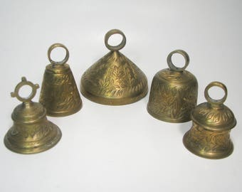 Vintage Brass Bells Pre WWII India Etched Design Soldier Souvenir Beautiful Set