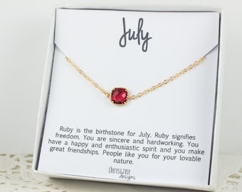 July Birthstone Gold Bracelet,  Ruby Gold Bracelet, July Birthday Bracelet, Gold Bracelet, July Birthday Bracelet, Gifts Under 20