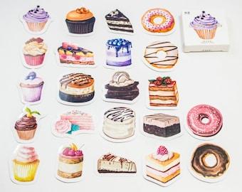 45 sticker set / pastries watercolor / DIY Filofaxing scrapbooking Aufkeber
