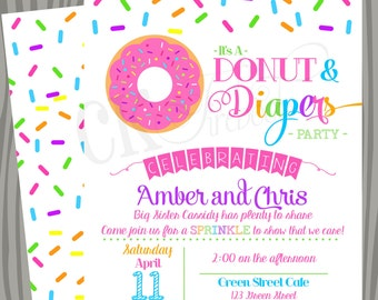 Donuts and Diapers Sprinkle Baby Shower Invite