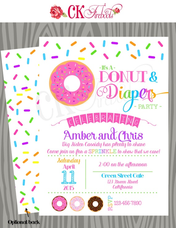 Lovely Donuts And Diapers Sprinkle Baby Shower Invite
