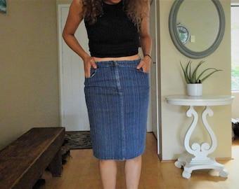 SALE Denim skirt with pink stripes high waisted vintage 6 M