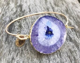 Charlie Violet Purple Agate Druzy Bracelet