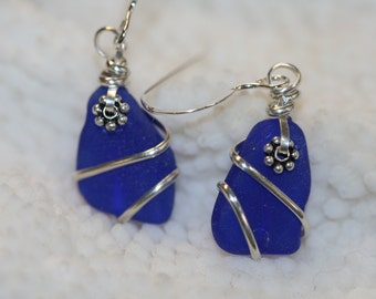 Wire Wrapped Cobalt blue sea glass beach glass earrings sterling silver