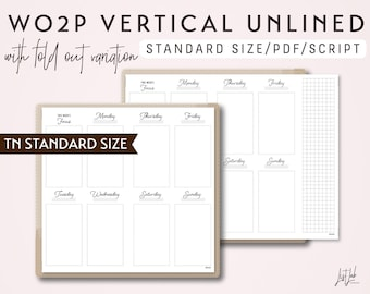 STANDARD Size TN Week on 2 Pages Vertical with Fold Out Variation WO2P - Printable Traveler's Notebook Insert - Script Theme