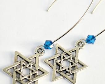 Star of David Earrings | Blue and Silver Earrings | Jewish Holiday Earrings | Kabbalah Earrings  | Blue Magan David Earrings
