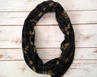 Infinity Scarf, Olive & Black Plaid