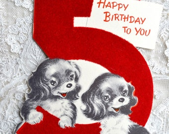 Vintage Birthday Card - Flocked  Five Year Old Puppies - Used Norcross