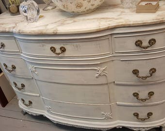 Gorgeous Shabby Chic Painted French Provincial Dresser with Marble Top