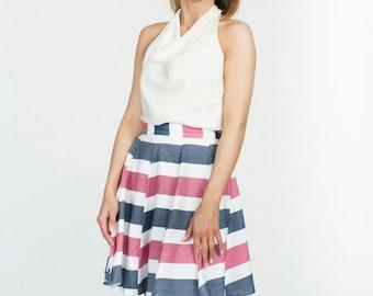 Cotton Midi Skirt Coolawoola Marine Style Wrap Around Waist Skirt All Sizes