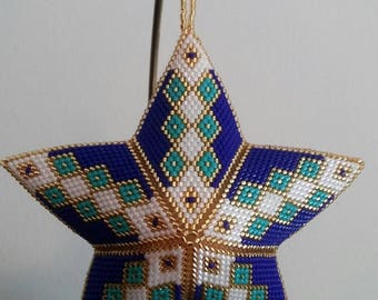 Hand Beaded White, Gold, Blue and Turquoise 3D 5 point Star Ornament