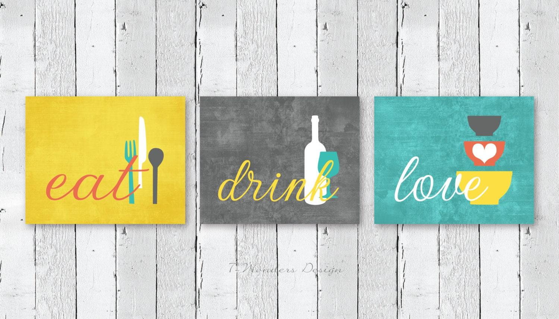 Kitchen Wall Art Print Set Eat Drink Love Mustard Yellow
