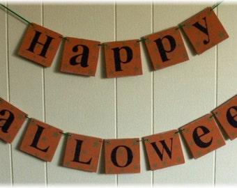 Happy Halloween Orange Wood Banner Garland Holiday Decoration 4 x 4 Tiles