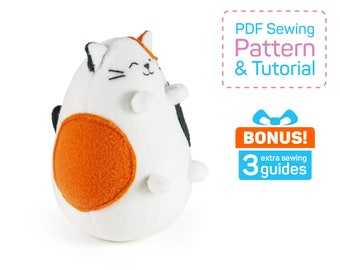 Fatty Tricolor Cat sewing pattern PDF | Plush cat pattern to sew | Calico Cat toy pattern | Stuffed cat pattern sewing