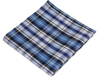 Plaid Pocket Square.Plaid Hanky. Blue Pocket Square.