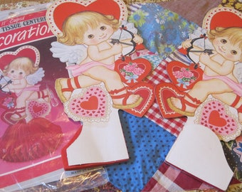 Two Sweet Vintage 11 Inch Eureka Honeycomb Centerpieces with Cupid