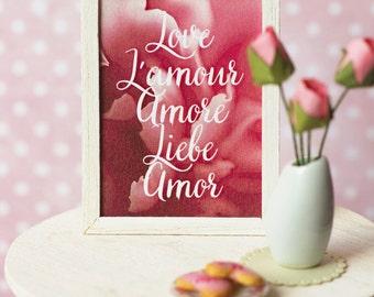 Miniature framed Valentine poster in 1:6 scale (Barbie, Blythe, Momoko, Pullip, FR dolls)