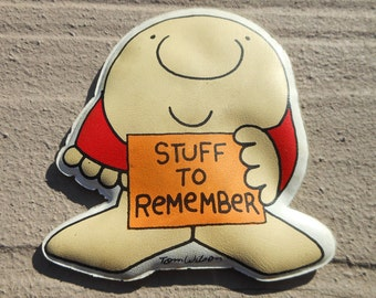 Ziggy Magnet 1979 Tom Wilson Cartoon Character and Painted Piggy Tomorrow I Diet Refrigerator Magnet