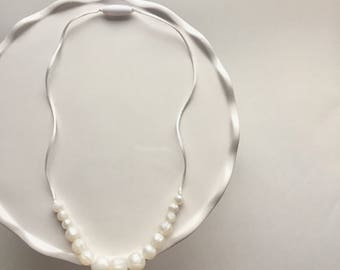White Pearls Little Ladies Necklace- child length- silicone beads. Child Safe Necklace