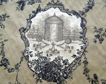 "Toile De Jouy Fabric BRAEMORE Garden Gazebo Tan Charcoal Cotton Screenprint BTY 56"" W Upholstery Curtain Drapery Furniture Gift Vintage"