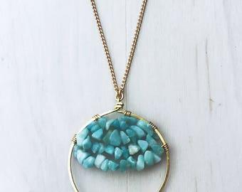 Aquamarine & Circular Pendant Necklace