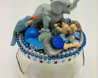 Elephant Assemblage Art Jar