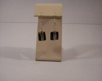 Deep Blue, Silver Wire Wrapped Earrings