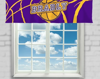 Basketball Curtain, Team Colors, Basketball Window Curtain, Basketball Valance, Personalized, Purple, Yellow, Basketball Theme