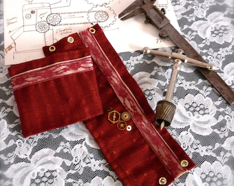 Airship Pirate Cuffs - Maroon with Black Lace Victorian Steampunk