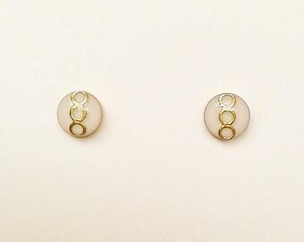 Tiny White Stud Earrings, Small White Resin Earrings, Ivory Retro Stud Earrings, Hypoallergenic, Resin Jewelry, For Her