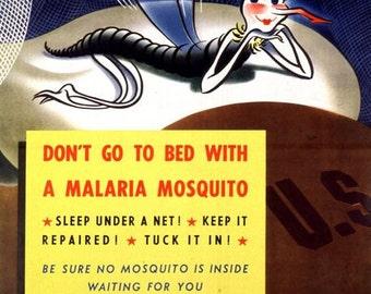 Vintage World War 2 Anti Malaria  Poster A3 Print