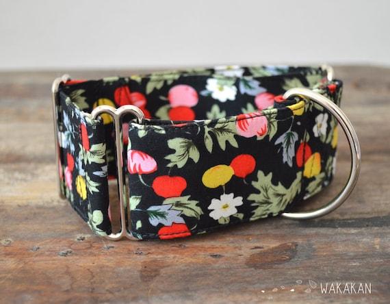 Martingale Prune Fest dog collar adjustable. Handmade with 100% cotton fabric. Fun and colorful desing leash. Greyhound Galgo Wakakan