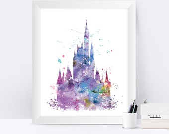Cinderella Castle, Watercolor Print, Princess Castle, Disney Castle Print Castle Poster, Gift, Disney Nursery Watercolor Artwork, Wall Art