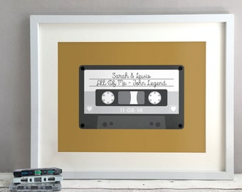 Retro Anniversary Gift, Unique Gift Ideas, Paper Anniversary Present For Couple, 1st 2nd Wedding Anniversary, Mix Tape Print (Unframed)